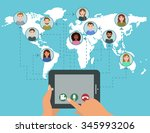 video conference call concept... | Shutterstock . vector #345993206