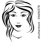 silhouette of girl | Shutterstock .eps vector #34600378