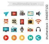 trendy flat detailed multimedia ...