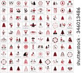 christmas icons and elements... | Shutterstock .eps vector #346013486