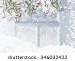 Snowy Fir Branches And Holly I...