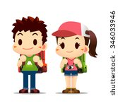 vector of cute boy and girl... | Shutterstock .eps vector #346033946