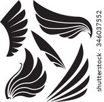 set of five decorative wings.... | Shutterstock .eps vector #346037552