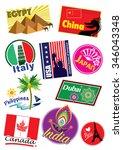 world country travel landmark... | Shutterstock . vector #346043348