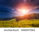 great view of the foggy peak ... | Shutterstock . vector #346047062