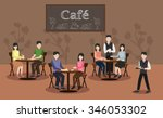 people in cafe restaurant vector | Shutterstock .eps vector #346053302