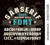 sanserif  font in military... | Shutterstock .eps vector #346076108