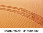 Wheel Track On Sand In The...