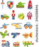different kind of toys for boys ... | Shutterstock .eps vector #346088846