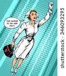 super hero nurse flies to the... | Shutterstock .eps vector #346093295