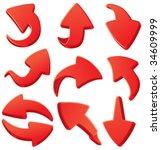 set of red 3d arrows | Shutterstock .eps vector #34609999