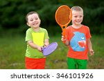portrait of two boys in the... | Shutterstock . vector #346101926