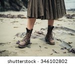 the feet of a young woman... | Shutterstock . vector #346102802