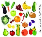 fruit and vegetable set | Shutterstock .eps vector #34610524