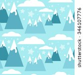 seamless winter pattern with... | Shutterstock .eps vector #346107776