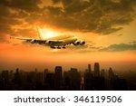 plane flying over urban scene | Shutterstock . vector #346119506