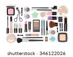 makeup cosmetics and brushes on ... | Shutterstock . vector #346122026