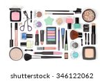 makeup cosmetics and brushes on ... | Shutterstock . vector #346122062