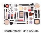 makeup cosmetics and brushes on ... | Shutterstock . vector #346122086