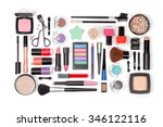 makeup cosmetics and brushes on ... | Shutterstock . vector #346122116