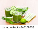 two glass of green smoothie... | Shutterstock . vector #346130252