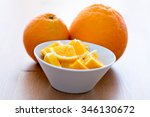 couple of orange slices in a... | Shutterstock . vector #346130672
