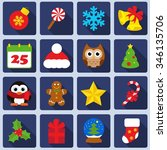 christmas icons set | Shutterstock .eps vector #346135706