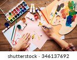 artist painting with water... | Shutterstock . vector #346137692