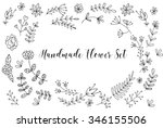 hand drawn flower card ... | Shutterstock .eps vector #346155506