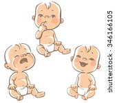set of baby emotion icons.... | Shutterstock .eps vector #346166105