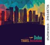 doha detailed skyline. vector... | Shutterstock .eps vector #346168736