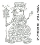 snowman coloring page | Shutterstock . vector #346170002