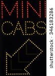 mini cabs taxi with arrow neon... | Shutterstock . vector #346183286