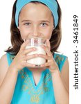 girl drinking milk a over white ... | Shutterstock . vector #3461849