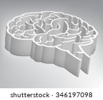 Stock vector a maze in the shape of a brain vector illustration 346197098