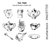 tea time set with porcelain... | Shutterstock .eps vector #346197755