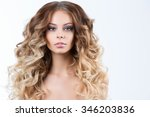 hairstyle. woman with long hair. | Shutterstock . vector #346203836