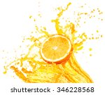 orange juice splashing with its ... | Shutterstock . vector #346228568