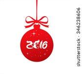 monkey over red christmas ball. ... | Shutterstock .eps vector #346238606