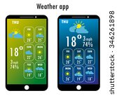 modern smartphone with weather...