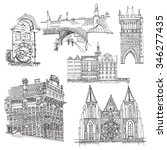 prague.  vector sketch old town.... | Shutterstock .eps vector #346277435