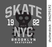 skate board skull typography  t ... | Shutterstock .eps vector #346295192