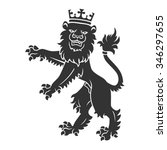 black standing lion with crown... | Shutterstock .eps vector #346297655