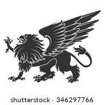 black griffin for heraldry or... | Shutterstock .eps vector #346297766