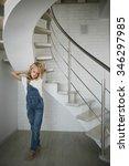 portrait of a beautiful blonde... | Shutterstock . vector #346297985