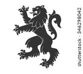 black roaring lion for heraldry ... | Shutterstock .eps vector #346298042
