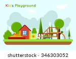 slide and sandpit playground | Shutterstock . vector #346303052