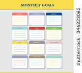 monthly goals calendar template ... | Shutterstock .eps vector #346323062