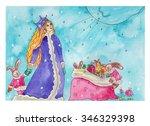snow girl looking to the sky... | Shutterstock . vector #346329398