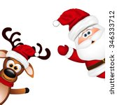 funny santa and reindeer on... | Shutterstock .eps vector #346333712